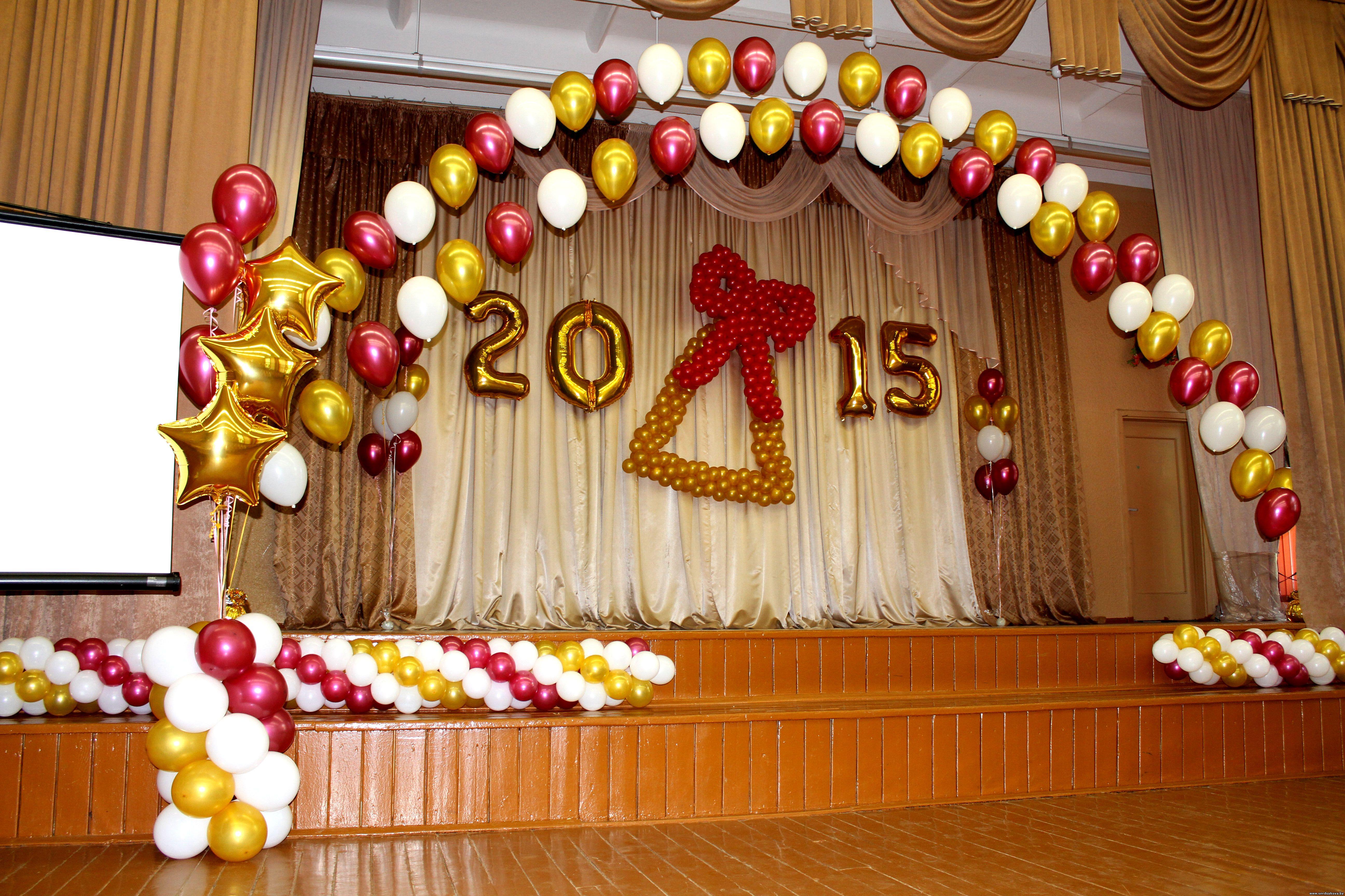 Украшение зала на выпускной в шарами фото